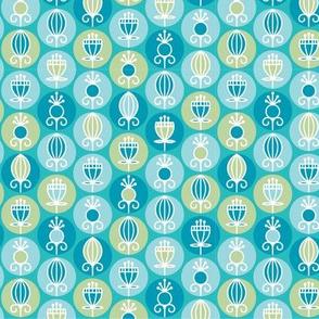 turquoise geometric flowers