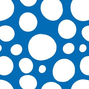 Cute Hand Drawn Poka Dot Circles BLUE and WHITE