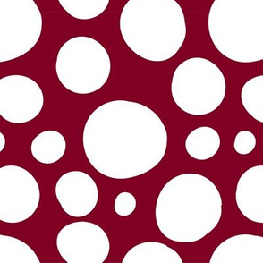 Cute Hand Drawn Poka Dot Circles GARNET and WHITE