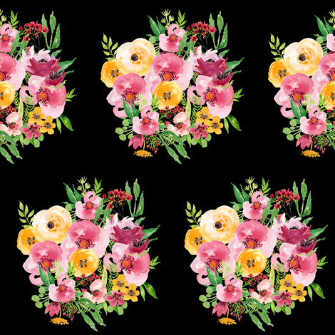 Red and Yellow Floral Bunch - Black fabric by shopcabin on Spoonflower - custom fabric