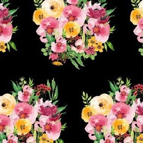 Red and Yellow Floral Bunch - Black