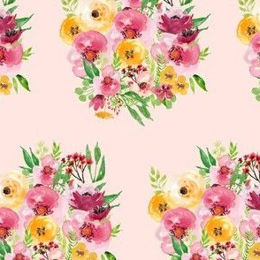 Red and Yellow Floral Bunch - Pink