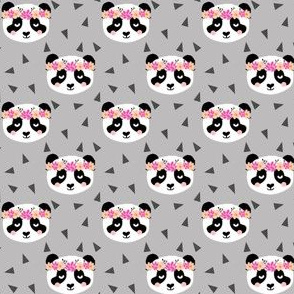 panda flowers gray girly triangles sweet flower crown