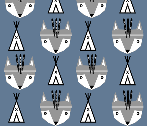 feather fox blue  fabric by charlottewinter on Spoonflower - custom fabric