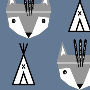 feather fox blue