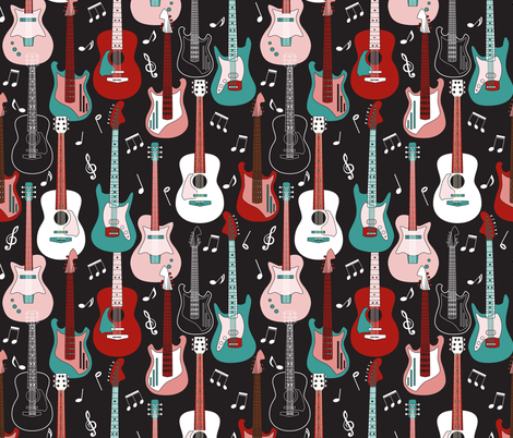 Guitars fabric by mag-o on Spoonflower - custom fabric