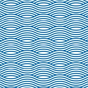Blue and White Wave Asian Stripes