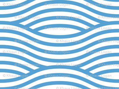 Carolina Blue and White Wave Asian Stripes