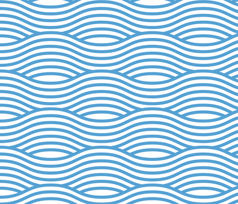Carolina Blue and White Wave Asian Stripes fabric by khaus on Spoonflower - custom fabric
