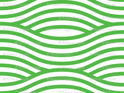 Green and White Wave Asian Stripes