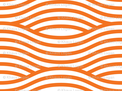 Orange and White Wave Asian Stripes