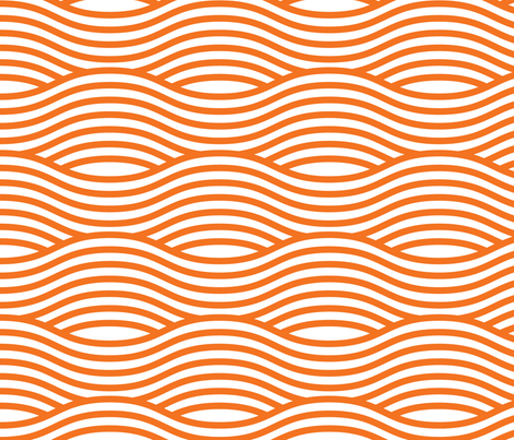 Orange and White Wave Asian Stripes fabric by khaus on Spoonflower - custom fabric