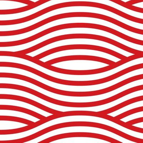 Red and White Wave Asian Stripes