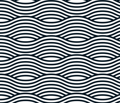 Black and White Wave Asian Stripes fabric by khaus on Spoonflower - custom fabric