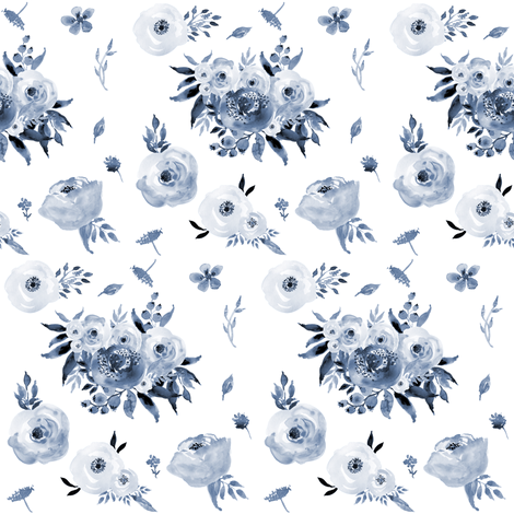 Blue Floral fabric by shopcabin on Spoonflower - custom fabric