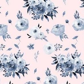 Blue Floral - Pink