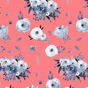 Blue Floral - Coral