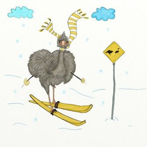 Crazy Ostrich Is Skiing: Danger