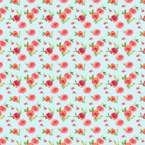 Mini Red Roses Light Blue - Floral Print