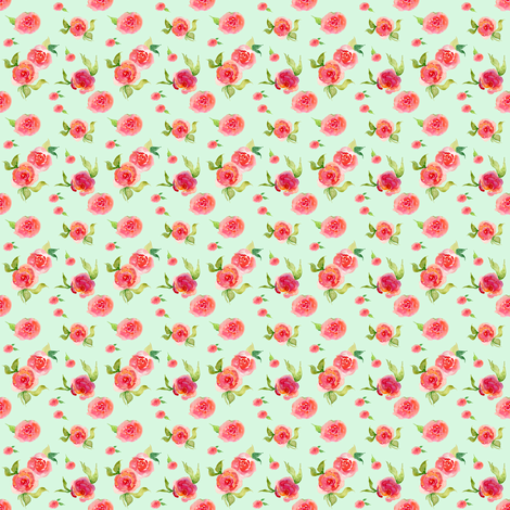 Mini Red Roses Mint fabric by shopcabin on Spoonflower - custom fabric