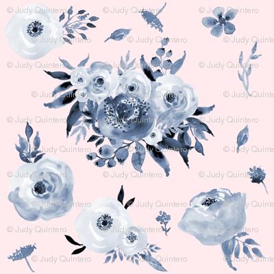 Mini Blue Floral  - Pink