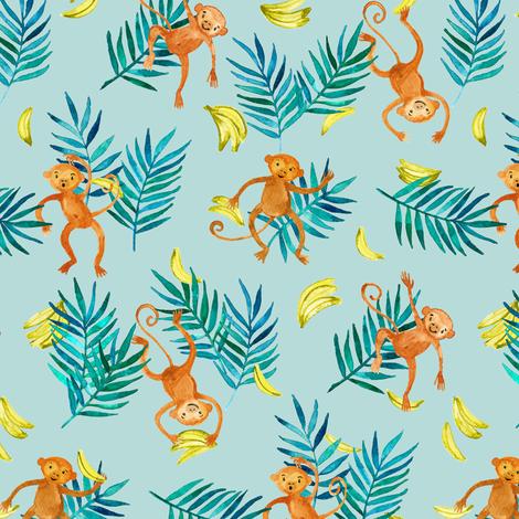 Tropical Monkey Banana Bonanza on mint green fabric by micklyn on Spoonflower - custom fabric