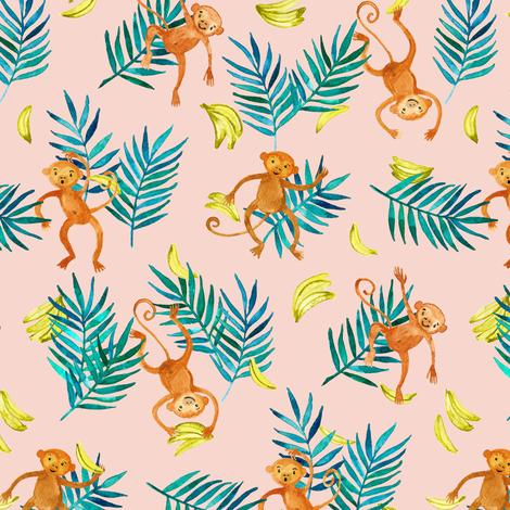 Tropical Monkey Banana Bonanza on blush pink fabric by micklyn on Spoonflower - custom fabric
