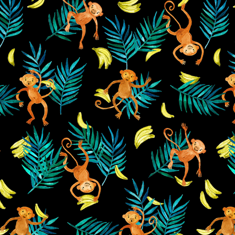 Tropical Monkey Banana Bonanza on black fabric by micklyn on Spoonflower - custom fabric
