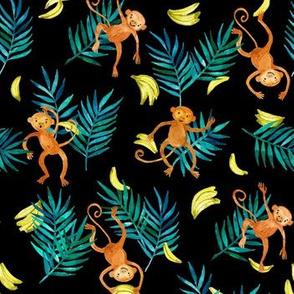 Tropical Monkey Banana Bonanza on black