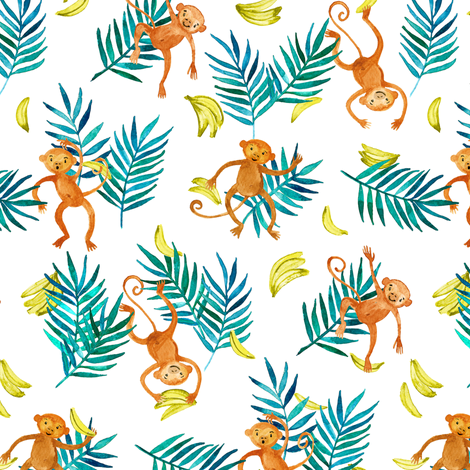 Tropical Monkey Banana Bonanza on white fabric by micklyn on Spoonflower - custom fabric