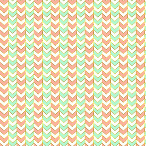 Half Scale Gilded Herringbone in Shades of Mint and Light Coral