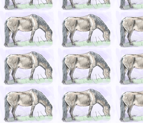 Custom Pony Grazing 8.5 by 5.5 fabric by eclectic_house on Spoonflower - custom fabric