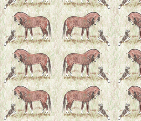 Custom Bay Morgan and Dog Friend 8.5 by 5.5 fabric by eclectic_house on Spoonflower - custom fabric