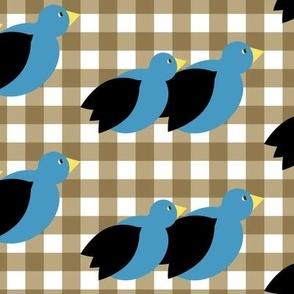 Plaid Birds on tan plaid_Miss Chiff Designs