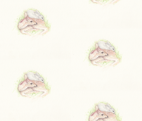 Fawn and Bunny- larger fabric by lilafrances on Spoonflower - custom fabric
