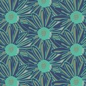 Floral Botanical Navy Impatiens  Garden Gardener Mint taupe Flower_Miss Chiff Designs