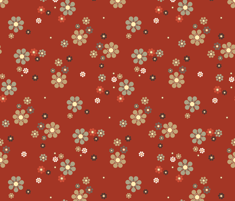 16-16AX Japanese Floral || Japan Tan Taupe Black Burnt Orange Rust Red Cream Tan Olive green _Miss Chiff Designs fabric by misschiffdesigns on Spoonflower - custom fabric