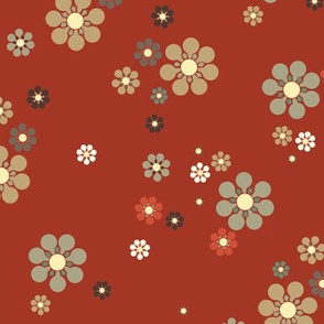 Japanese Floral || Japan Tan Taupe Black Burnt Orange Rust Red Cream Tan Olive green _Miss Chiff Designs