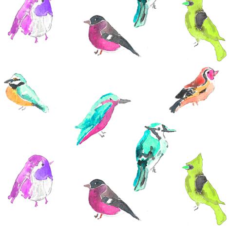 birds in pinks fabric by erinanne on Spoonflower - custom fabric