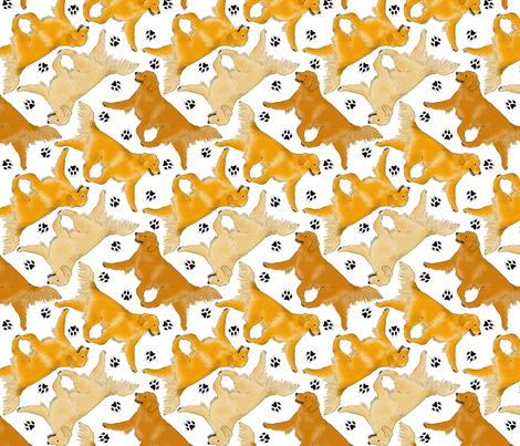 Trotting Golden Retrievers and paw prints - white fabric by rusticcorgi on Spoonflower - custom fabric