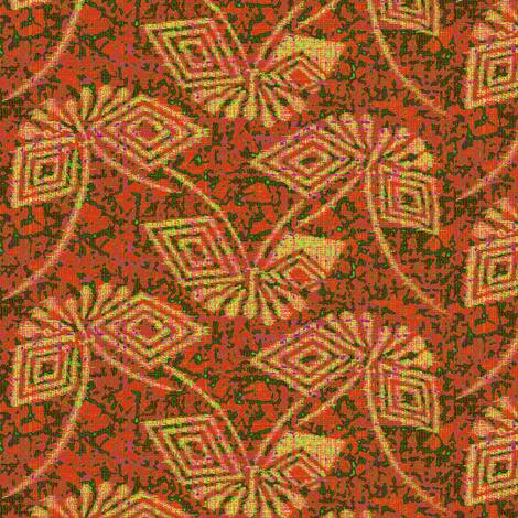 Stylized Ikat Butterfly - salmon green, yellow fabric by materialsgirl on Spoonflower - custom fabric
