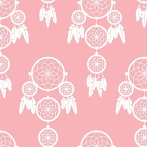 Dreamy dreamcatcher indian boho gypsy summer feathers design pastel pink girls