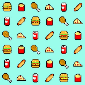 8-Bit Fast Food - Blue