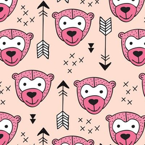 Cute geometric safari monkey zoo fun animals and arrows kids design in pink for girls