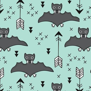 Cool bats flying dogs illustration design with geometric triangles and arrows for halloween and cool fashion in mint