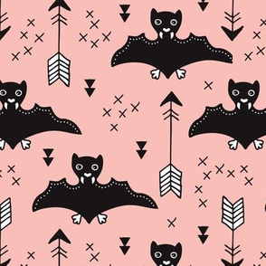 Cool bats flying dogs illustration design with geometric triangles and arrows for halloween and cool fashion pink