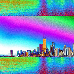Colored Foil Chicago SKyline