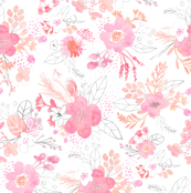 Pink Watercolor Bouquet MEDIUM