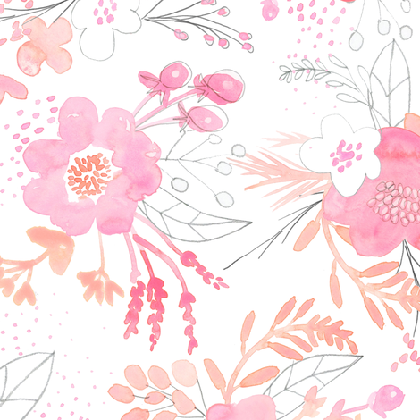 Pink Watercolor Bouquet MEDIUM fabric by emilysanford on Spoonflower - custom fabric