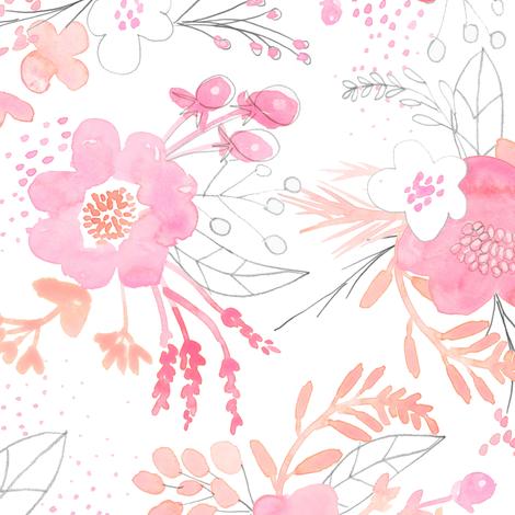 Pink Watercolor Bouquet MEDIUM fabric by emilysanford on Spoonflower - custom fabric